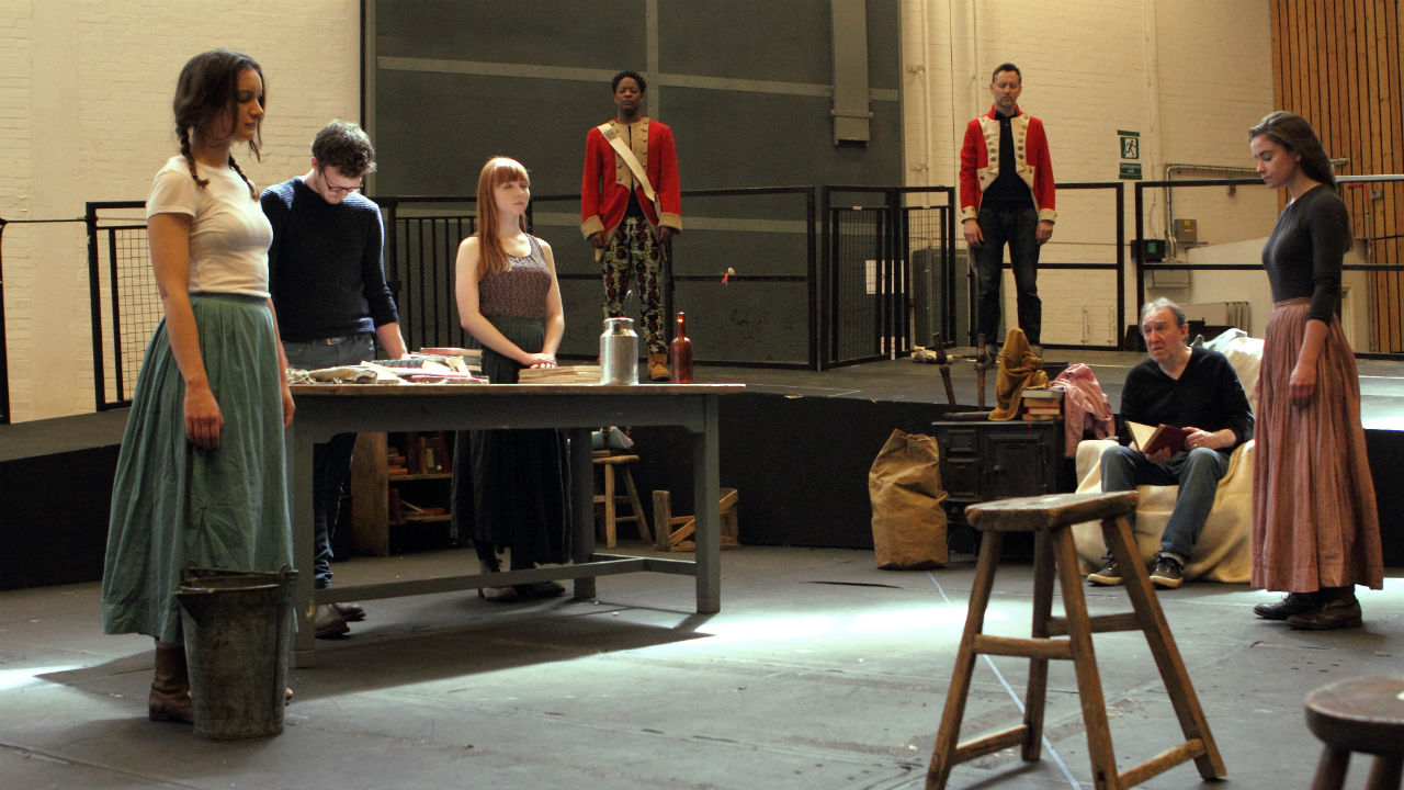 The cast of Translations in rehearsal