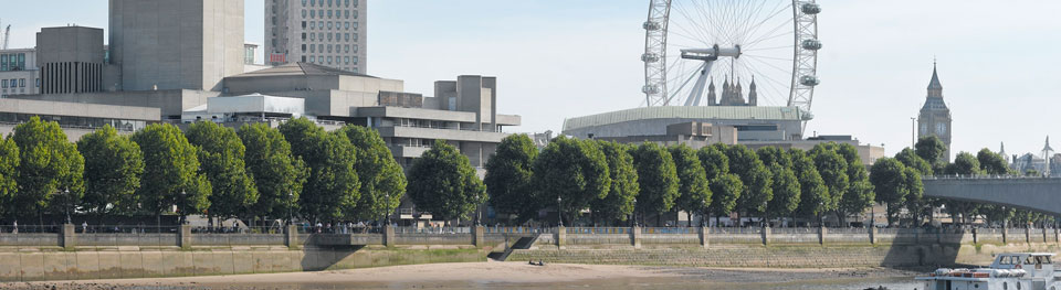 National Theatre in the daytime with River Thames and London Eye