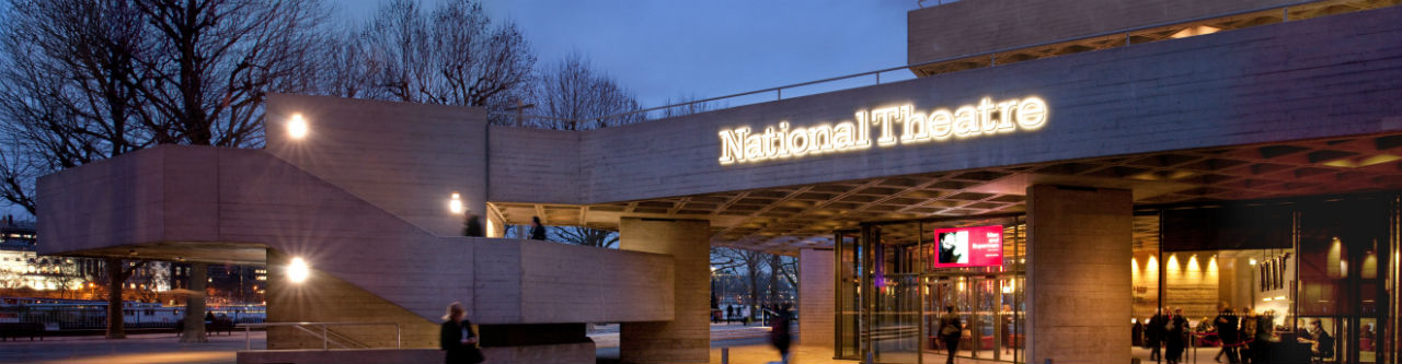 The National Theatre entrance at night