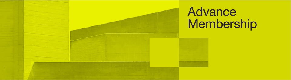 Advance membership page banner with a yellow washed photo of the National Theatre building