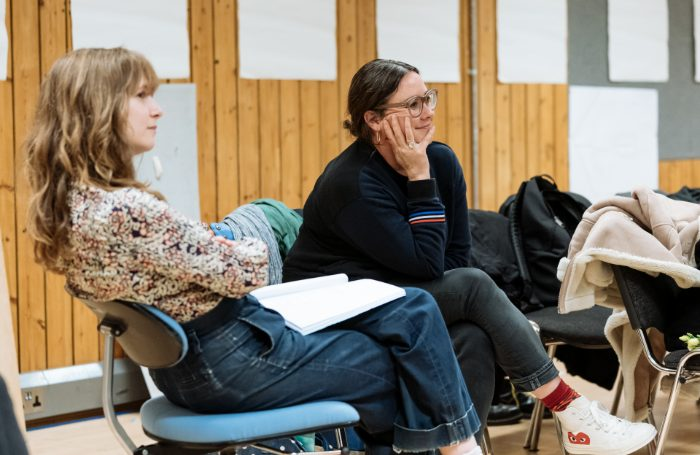 Annie Baker and Chloe Lamford in rehearsals for The Antipodes