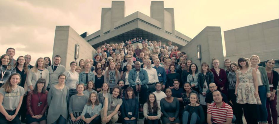 National Theatre Staff photo on steps and terraces of the National in Autumn 2016