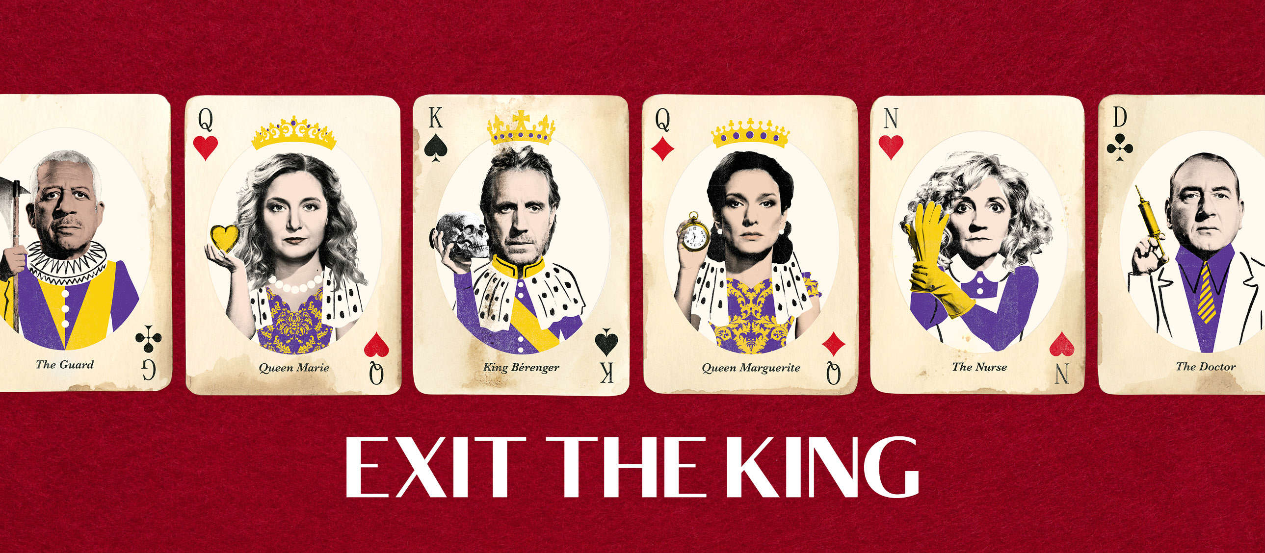 Exit the King - Photos of Indira Varma (Queen Marguerite),  Rhys Ifans (King Berenger), Amy Morgan (Queen Marie), Derek Griffiths (The Guard), Debra Gillett (The Nurse) and Adrian Scarborough (The Doctor) as playing card characters