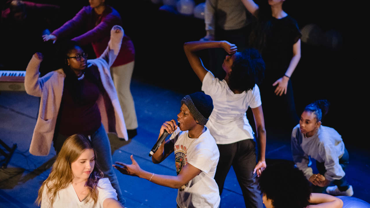 Young people performing