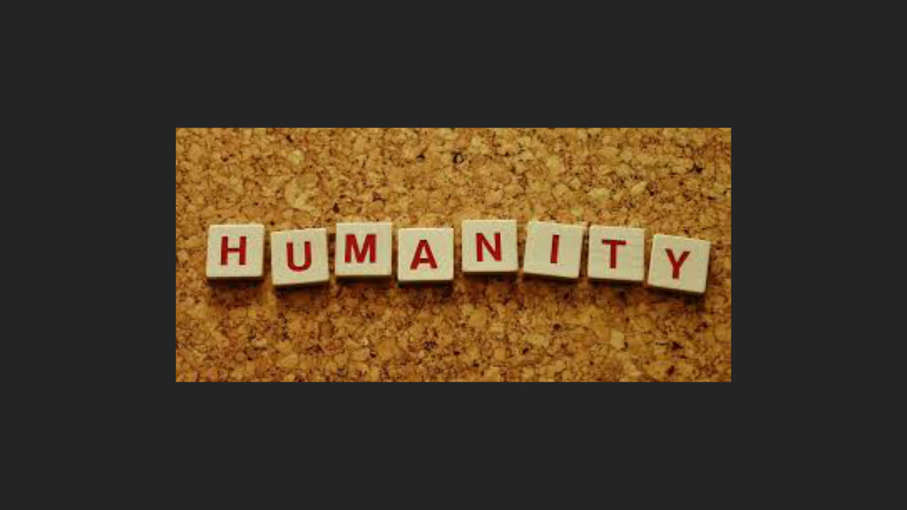 The word Humanity spelt in scrabble letters