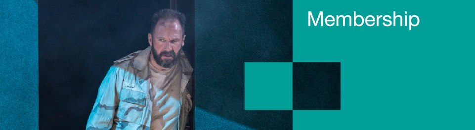 Membership banner with Ralph Fiennes in a scene from Anthony and Cleopatra