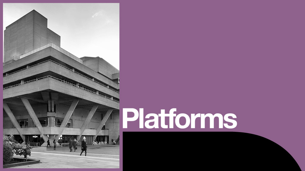 Platform poster with photo of North East corner of the National Theatre builiding