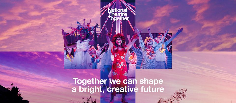 National Theatre Together: text (National Theatre Together) overlaid on a image of a pink and purple sky