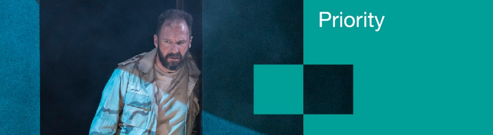 Priority Membership banner with Ralph Fiennes in a scene from Anthony and Cleopatra