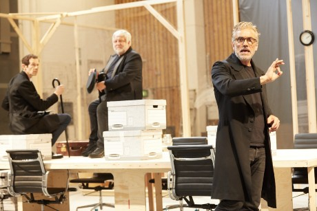 Adam Godley, Simon Russell Beale and Ben Miles in rehearsal for the Lehman Trilogy at the National Theatre