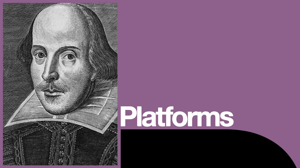 Celebrating Shakespeare Platform with print portrait of Shakespeare