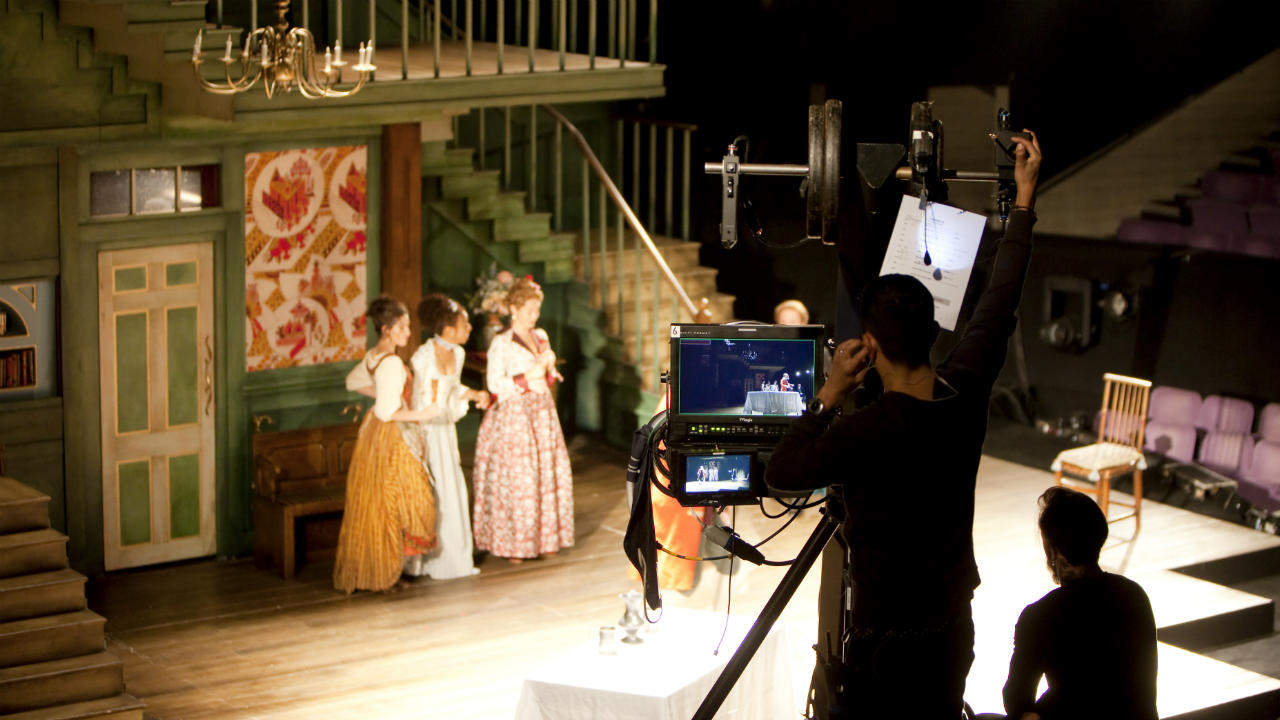 NT Live website - photo of a camera rehearsal of She Stoops to Conquer