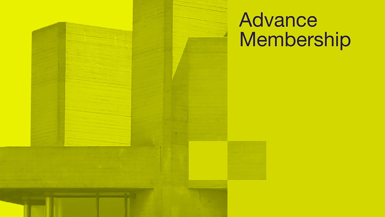 Advance membership poster with a yellow washed photo of the National Theatre building