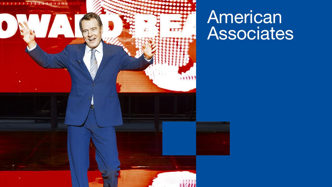 American Associates membership poster with a photo of Bryan Cranston in the production of Network