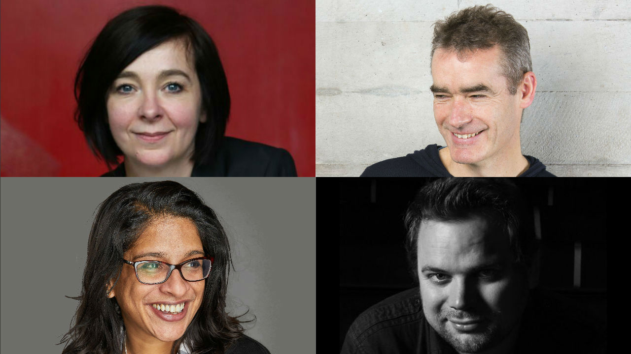 This shows the four people who will be speaking at the event - headshots of Vicky Featherstone, Rufus Norris, Indhu Rubasingham and Christopher Haydon
