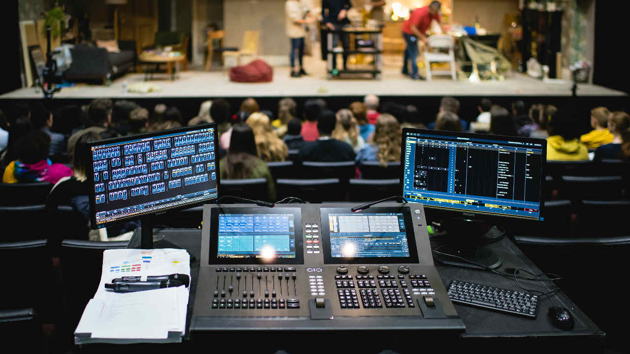An image of a sound and lighting cue desk