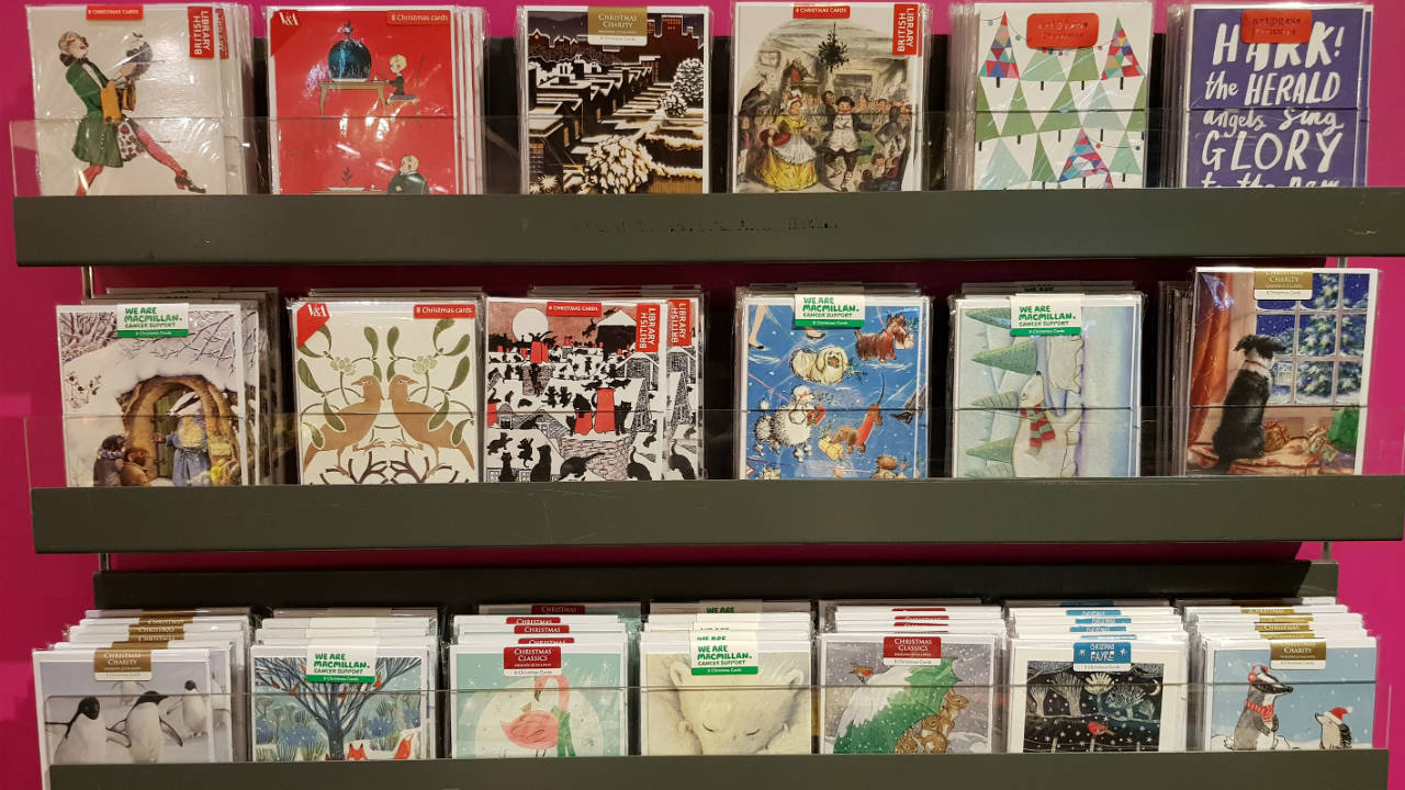 A display of cards on racks, in the Bookshop