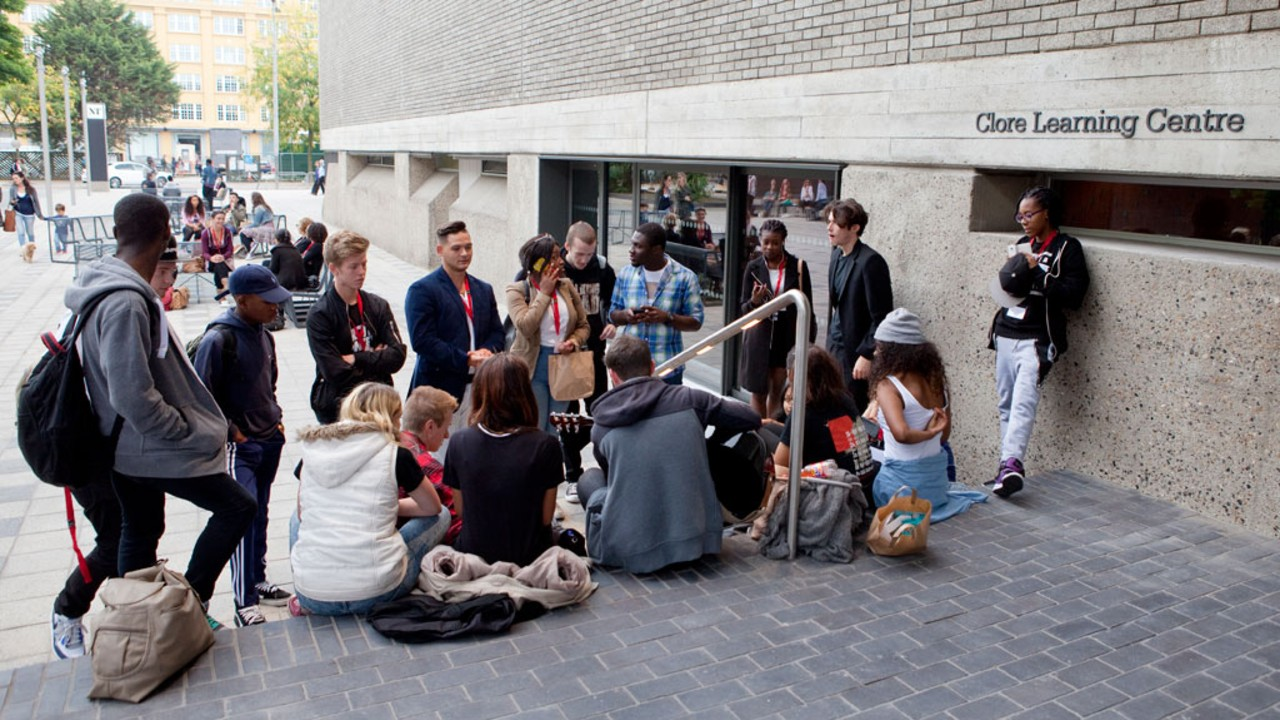 Youth workshop taking place outside the National Theatre