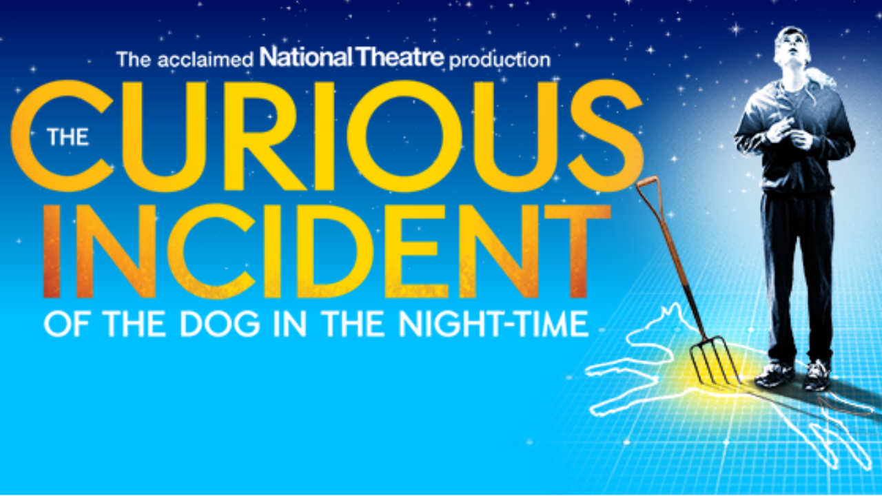 The marketing image for the Curious Incident of the Dog in the Night-Time Schools Tour, yellow title text on a blue background with a boy standing to the right with a rat on his shoulder