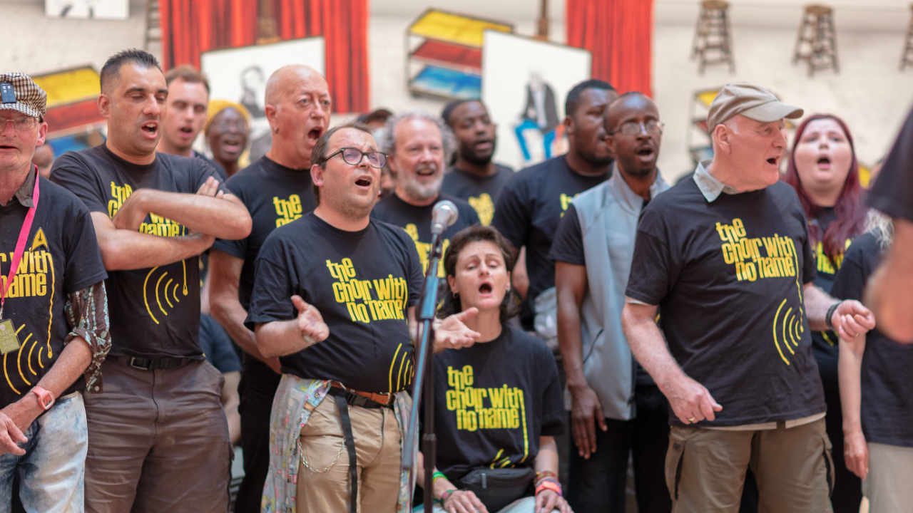 A photo of the choir with no name performing