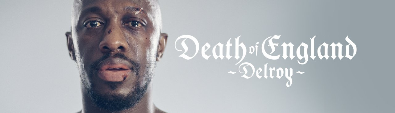 Death of England: Delroy - portrait of Giles Terera, with cuts and sticking plaster