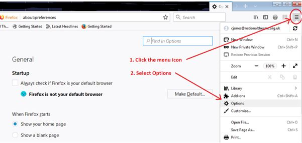 Deleting Cookies in Firefox click on the Firefox menu icon and then slect Options from the menu list