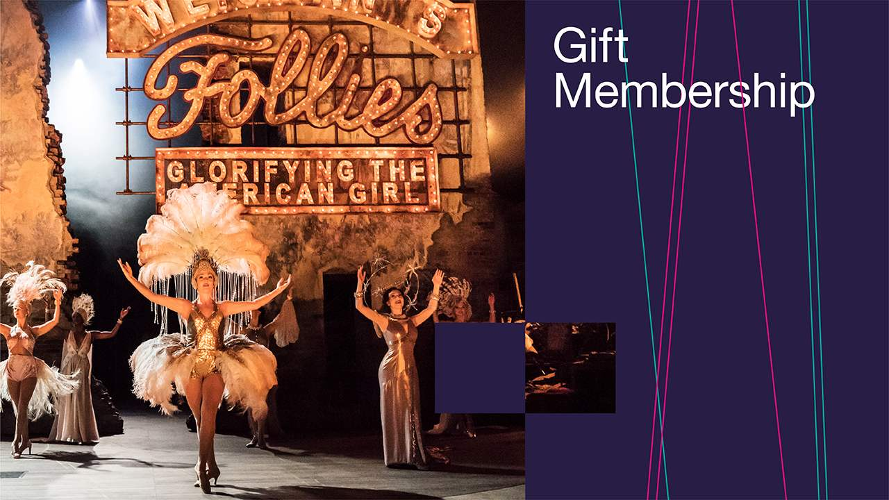 Gift Membership: a banner featuring a photo from the production of Follies