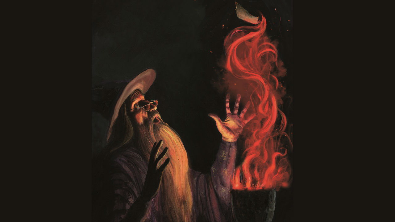 An illustration of the character Albus Dumbledore by illustrator Jim Kay