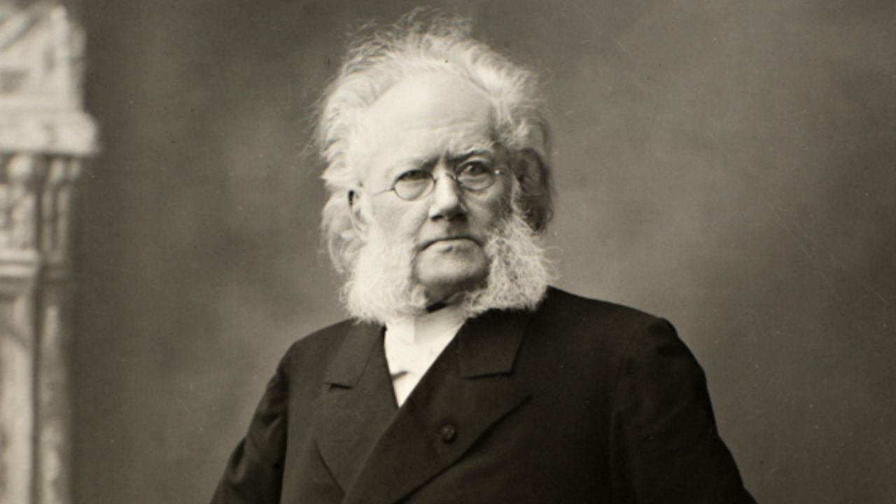 A black and white photograph if Henrik Ibsen