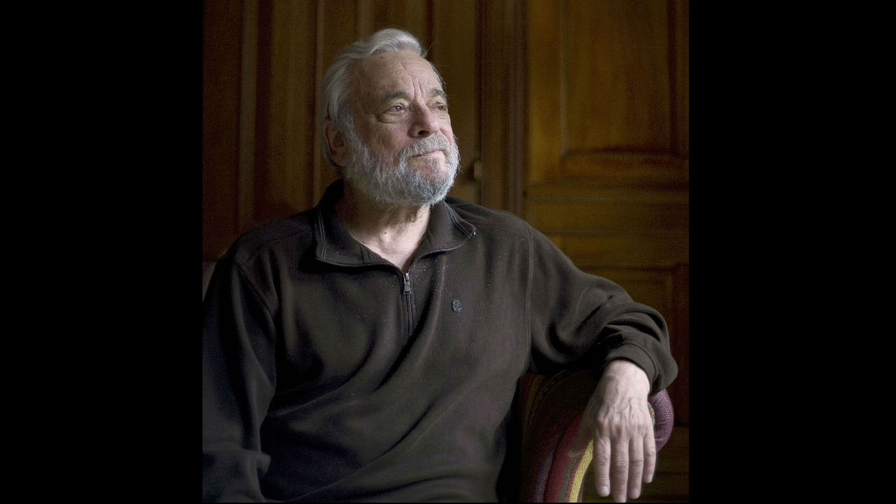 This is a photograph of Stephen Sondheim looking into the distance