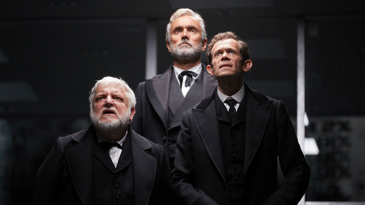 A photo of Simon Russel Beale, Adam Godley and Ben Miles performing in the Lehman Trilogy