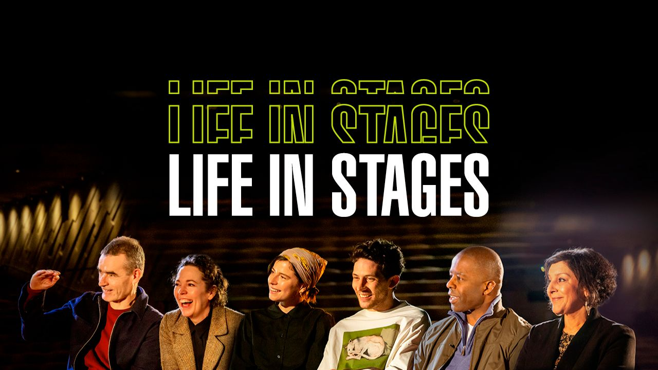 Life in Stages, photos of Olivia Colman, Rufus Norris, Jessie Bucklye, Josh O'Connor, Adrian Lester and Meera Syal