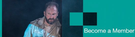 Become a member artwork with a production photo from Antony and Cleopatra with Ralph Fennes