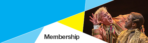 Membership banner with production image from Amadeus, with Adam Gillen and Lucian Msamati