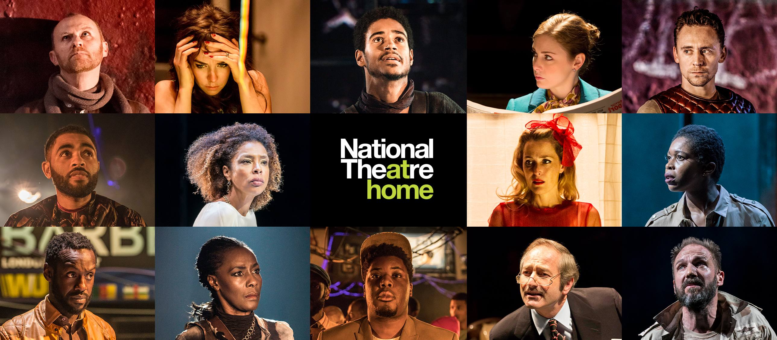 National Theatre at Home Enjoy world-class theatre whilst we're closed. poster with production images of Antony & Cleopatra, Barber Shop Chronicles, Coriolanus, A Streetcar Named Desire and This House