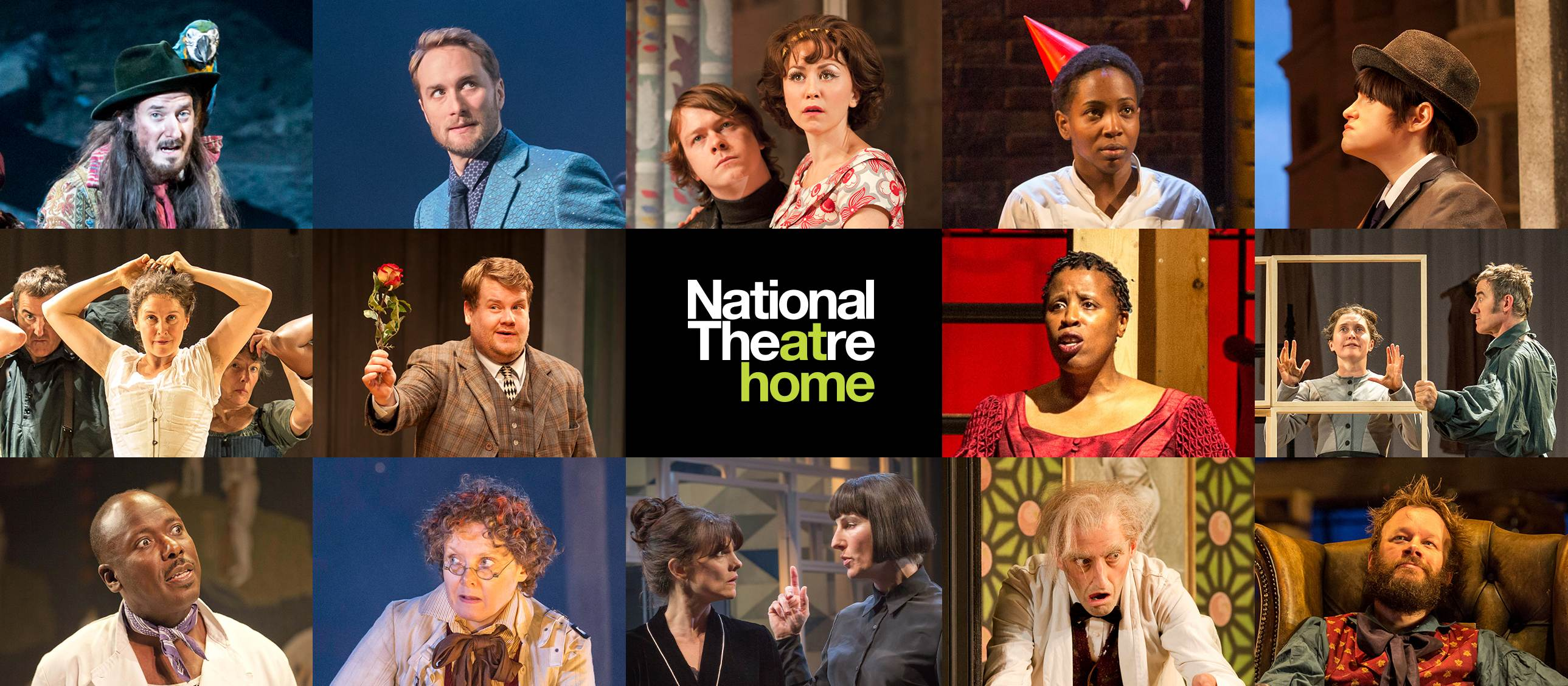 National Theatre at Home: composite poster with several images from NT Live productions, including Treasure Island, Jane Eyre, and more.