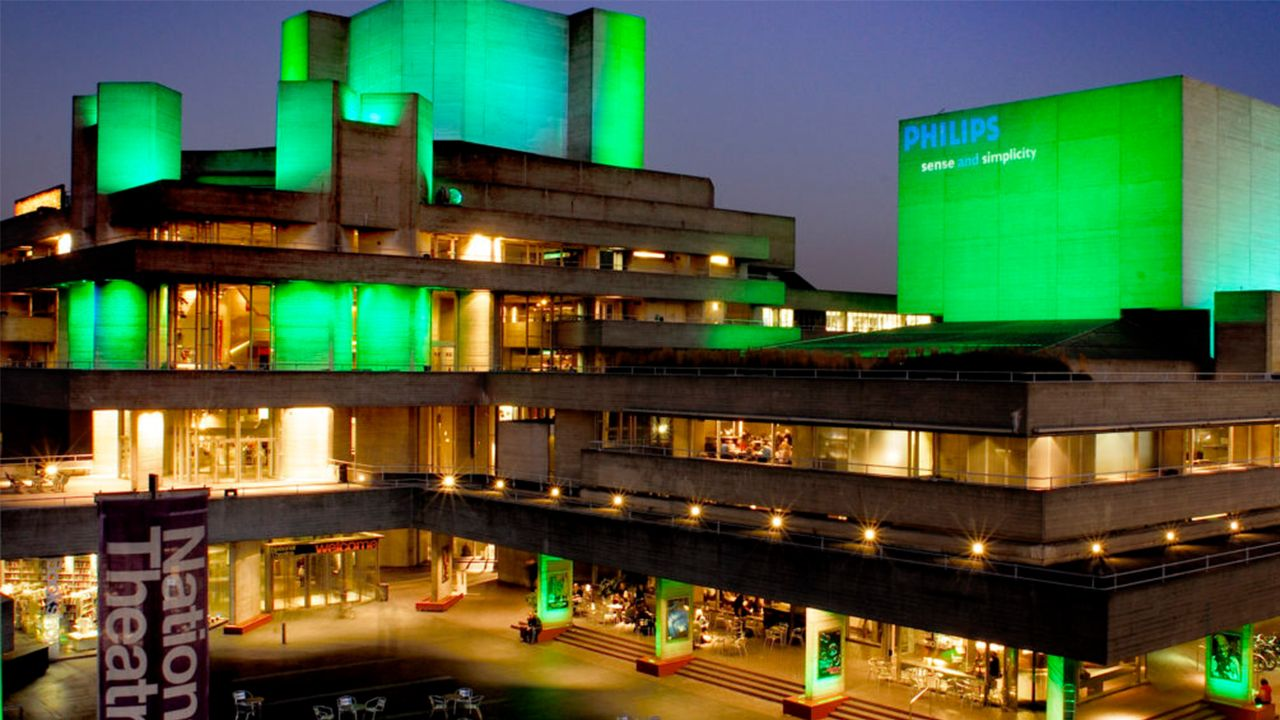 National Thetare building with green exterior lighting
