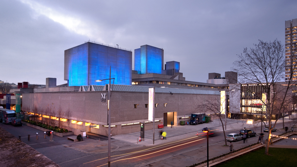 National Theatre from the South, with fly towers lit blue