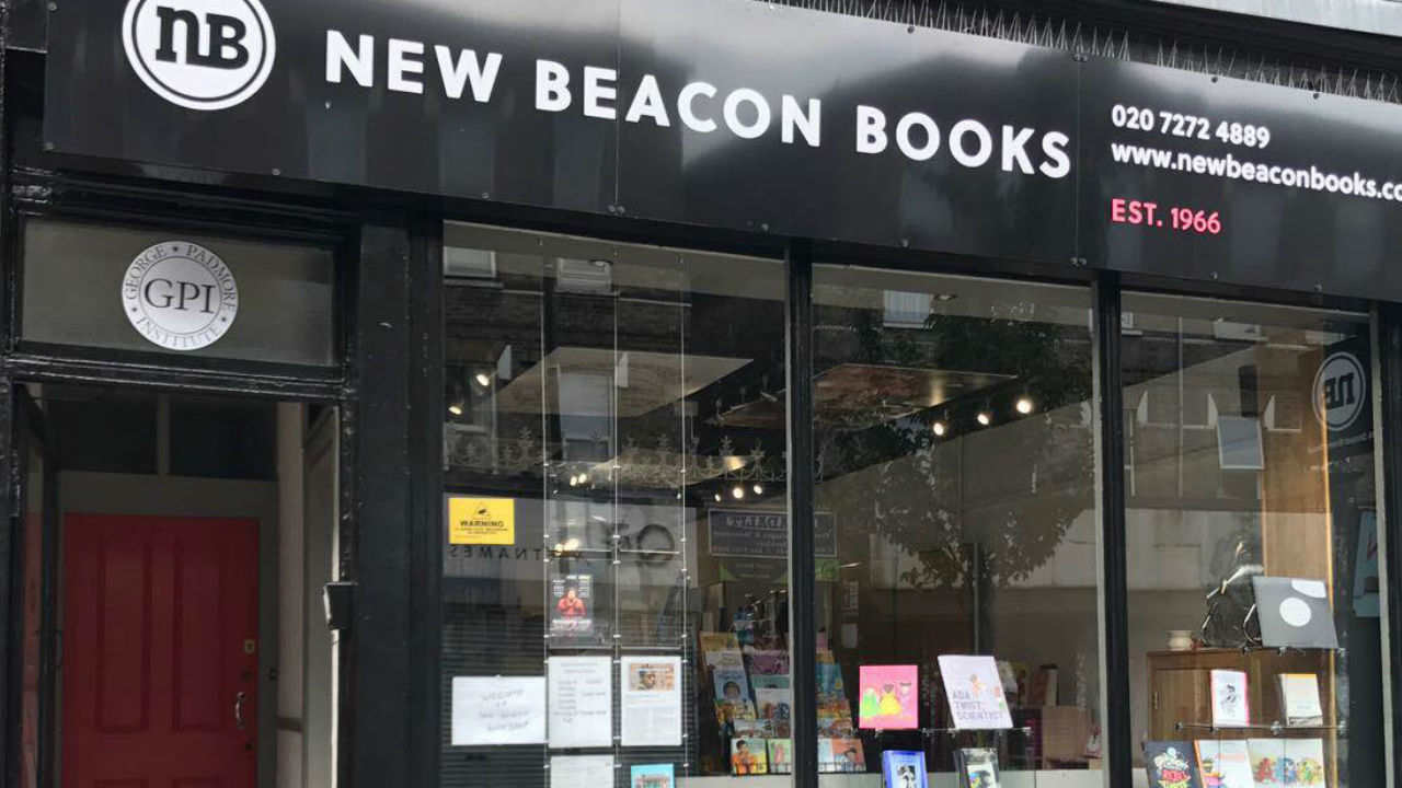 A photograph of the shop front of New Beacon Books