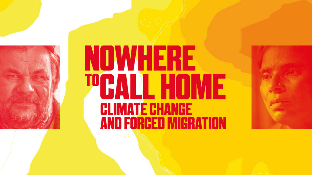 Nowhere to Call Home title text with two portraits of climate refugees from Bangladesh and Sami people from the Arctic.