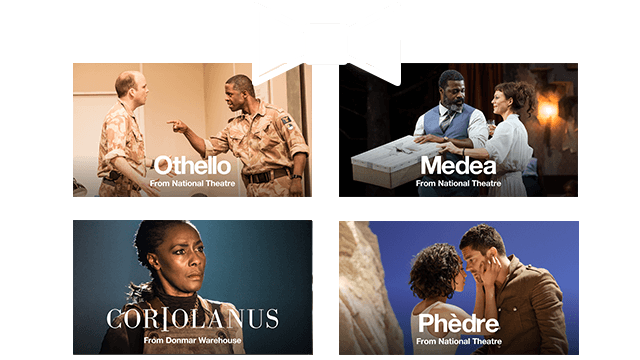 Give the gift of an NT at Home subscription; composite image using produiction photos of Othello, Medea, Coriolanus and Phedre