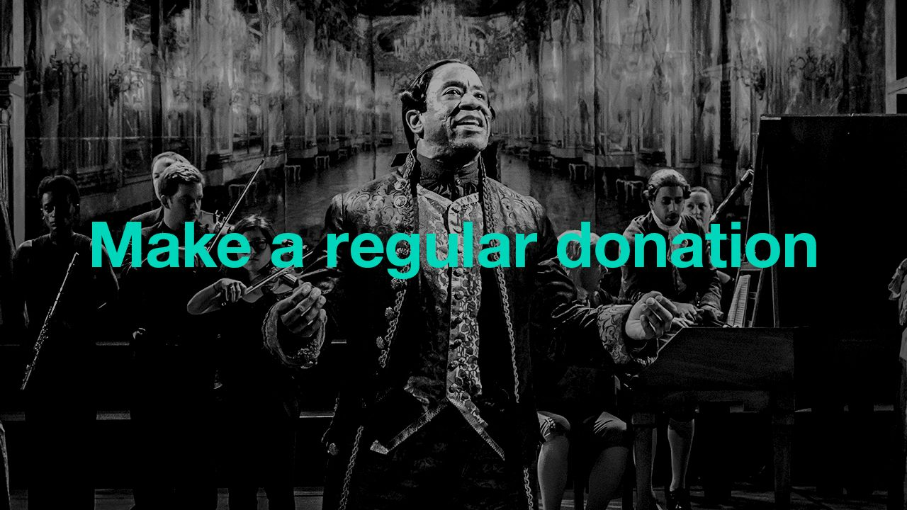 Make a regular donation: text (Make a regular donation) overlaid on an image from Amadeus with Lucian Msamati