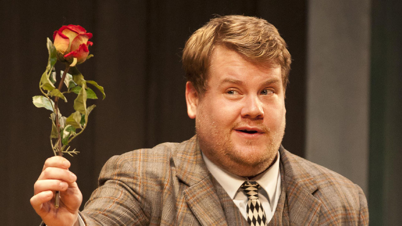 One Man Two Guvnors production photo with James Corden and company member