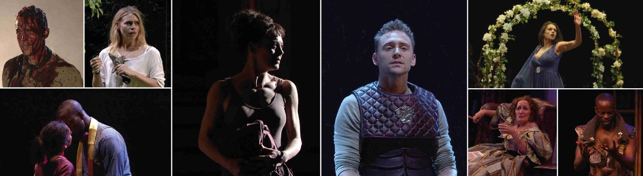 National Theatre Collection Appeal banner with a variety of production images, including Tom Hiddleston in Coriolanus