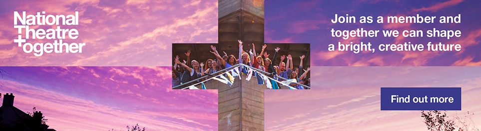 National Theatre Together: Plus symbol image of people on the National Theatre balcony, overlaid a pink/purple ski