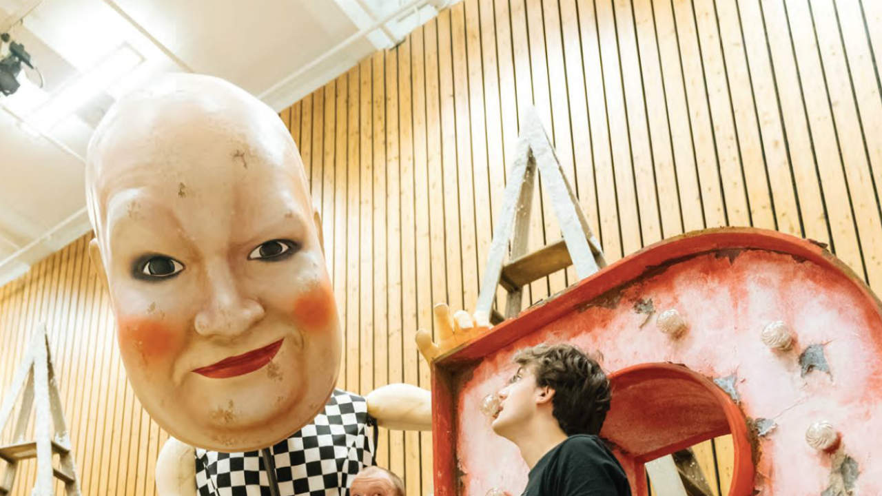 Pinocchio rehearsal image with large puppet head