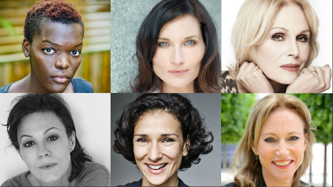 This is six photographs. Head-and-shoulders shots of Sheila Atim, Kate Fleetwood, Joanna Lumley, Helen McCrory, Indira Varma and Allie Esiri