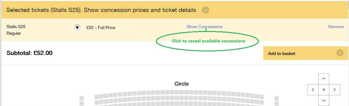 Selecting Concession prices - click the Show Concessions link for Senior and/or U18 discounts