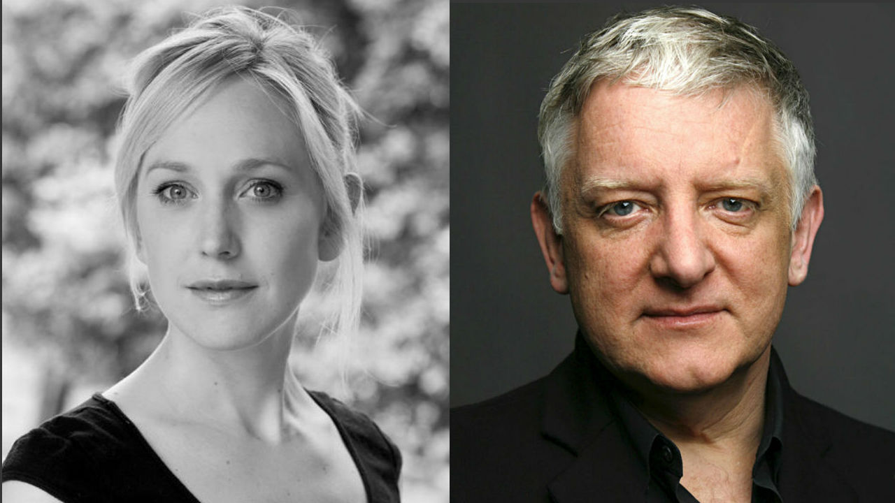 This is two headshots of Simon Russell Beale and Hattie Morahan