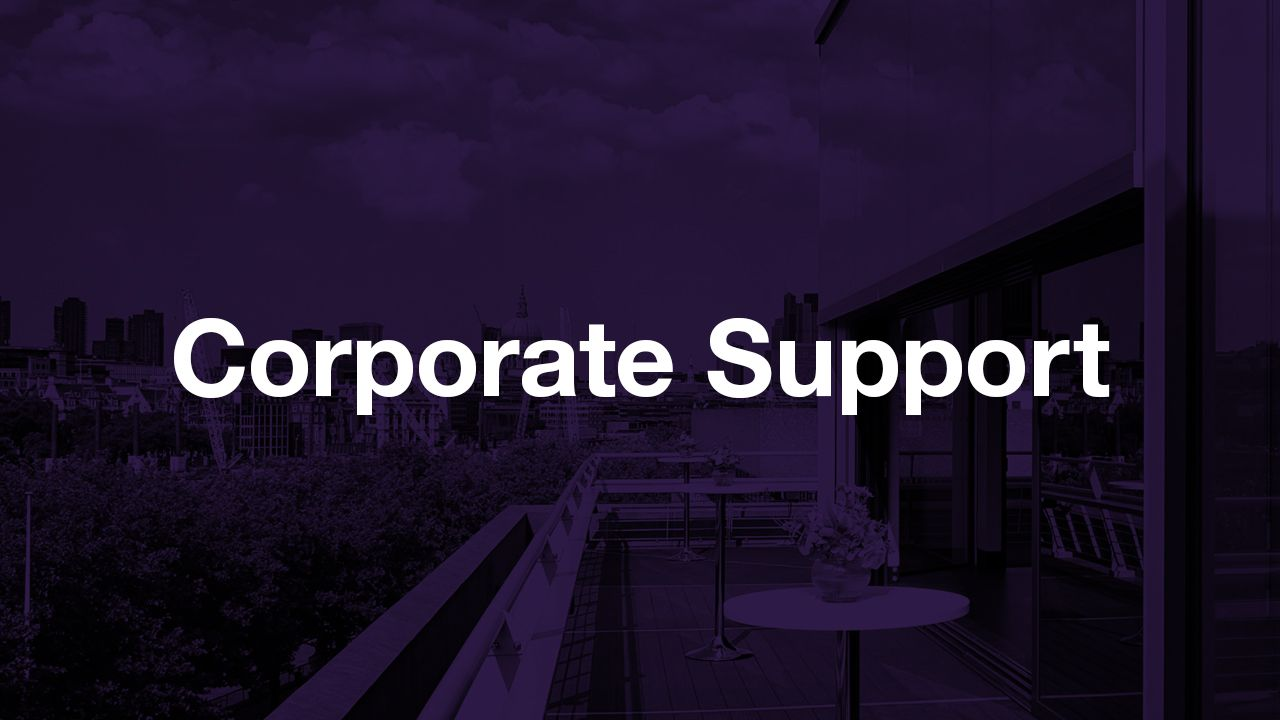 Corporate Support: text (Corporate Support) overlaid onto an dark purple-tinted image of the terrace outside The Deck on the rook of teh National Theatre